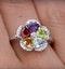 Citrine Garnet Peridot Blue Topaz Diamond Stellato Ring 9K White Gold - image 4