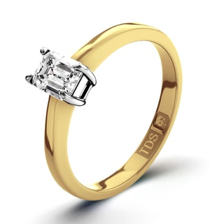 Certified Emerald Cut 18K Gold Diamond Engagement Ring 0.25CT-G-H/SI