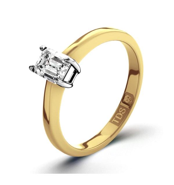 Certified Emerald Cut 18K Gold Diamond Engagement Ring 0.25CT-F-G/VS - image 1