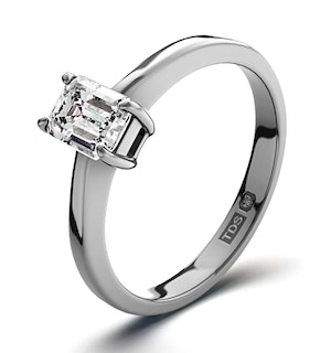 Certified Emerald Cut Platinum Diamond Engagement Ring 0.33CT-F-G/VS