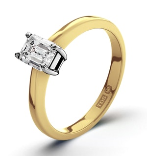 Certified Emerald Cut 18K Gold Diamond Engagement Ring 0.33CT-F-G/VS