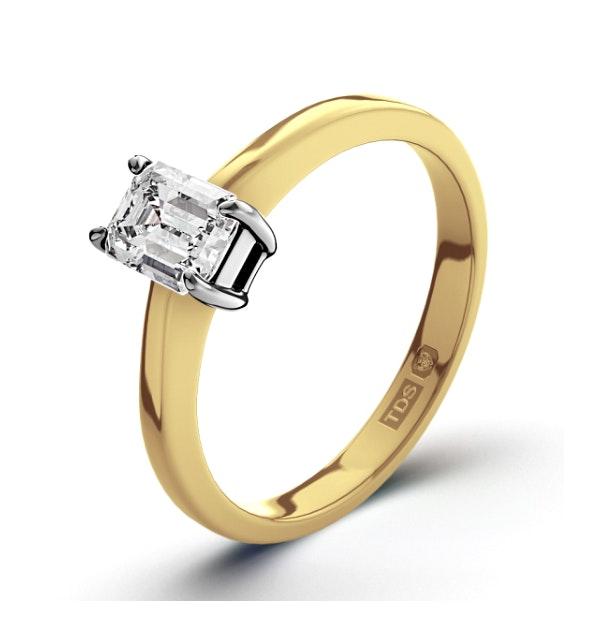Certified Emerald Cut 18K Gold Diamond Engagement Ring 0.33CT-F-G/VS - image 1