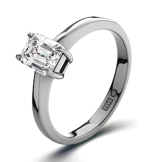 Certified Emerald Cut Platinum Diamond Engagement Ring 0.50CT-G-H/SI