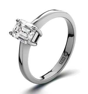 Diamond Engagement Ring Emerald Cut 18K White Gold 0.50CT-G-H/SI