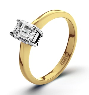 Certified Emerald Cut 18K Gold Diamond Engagement Ring 0.50CT-G-H/SI