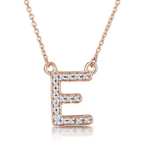 Initial 'E' Necklace Diamond Encrusted Pave Set in 9K Rose Gold