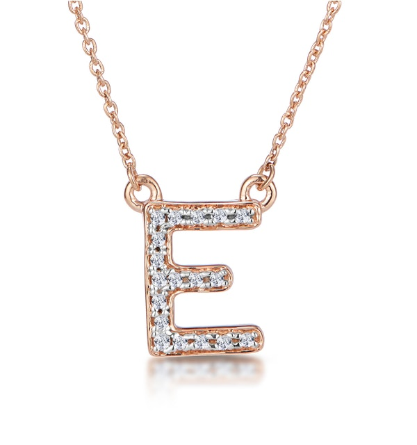 Initial 'E' Necklace Diamond Encrusted Pave Set in 9K Rose Gold - image 1