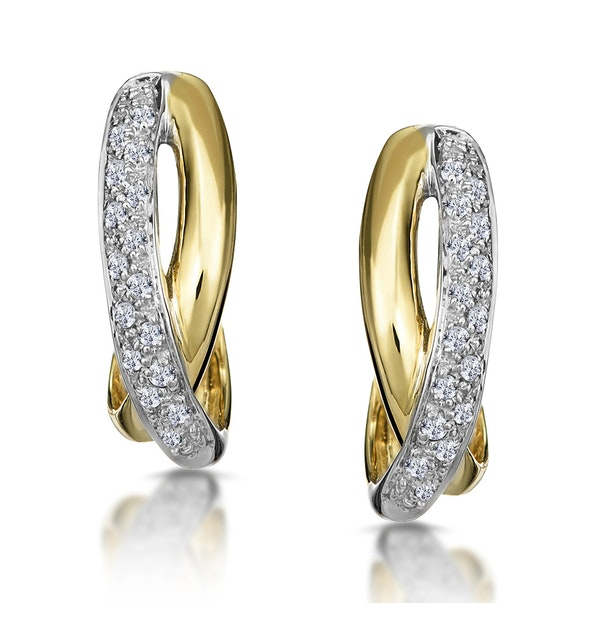 1/4 Carat Diamond Pave Crossover Earrings in 9K Gold - image 1