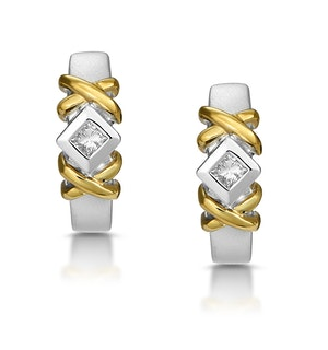 0.15ct Diamond Crossover Huggy Earrings in 2 Tone Gold