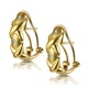 Three Stone Diamond Studded Huggy Earrings in 9K Gold - image 2