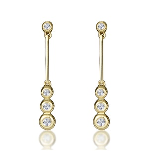 Small Drop Earrings 0.12ct Diamond 9K Yellow Gold