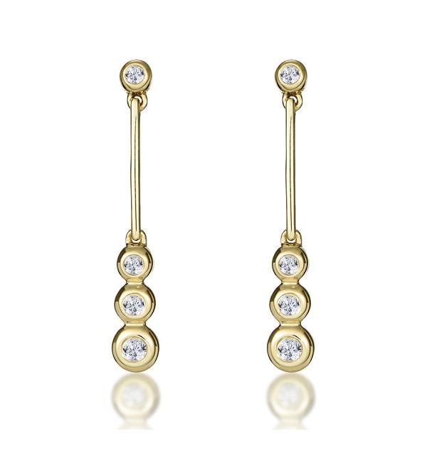 Small Drop Earrings 0.12ct Diamond 9K Yellow Gold - image 1