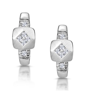 Chic Diamond Design Huggy Earrings in 9K White Gold
