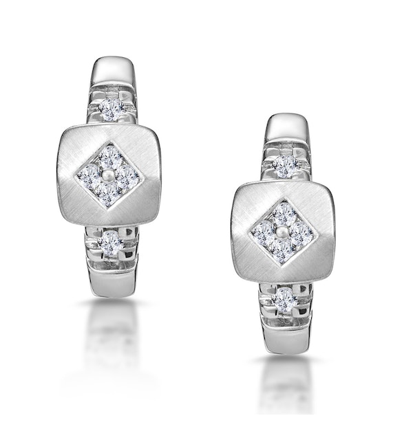 Chic Diamond Design Huggy Earrings in 9K White Gold - image 1