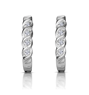 18K White Gold Channel Set Diamond Huggy Earrings
