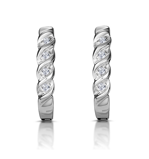 Hoop Earrings 0.07ct Diamond 9K White Gold - image 1