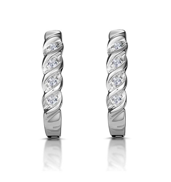 Hoop Earrings 0.07ct Diamond 9K White Gold - image 1