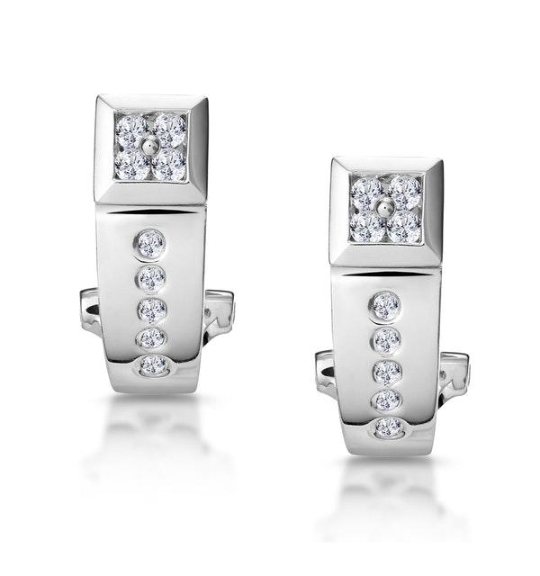 Elegant Diamond Huggy Earrings in 9K White Gold - image 1