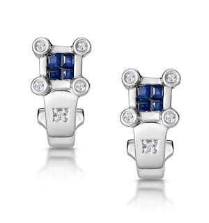 Sapphire and Diamond Studded Huggy Earrings in 9K White Gold