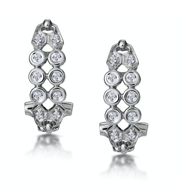 0.23ct Diamond Studded Rub Over Earrings in 9K White Gold - image 1