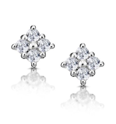 Small Fancy Earrings 0.18ct Diamond 9K White Gold - image 1