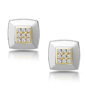 Diamond Pave Square Design Earrings in 9K White Gold