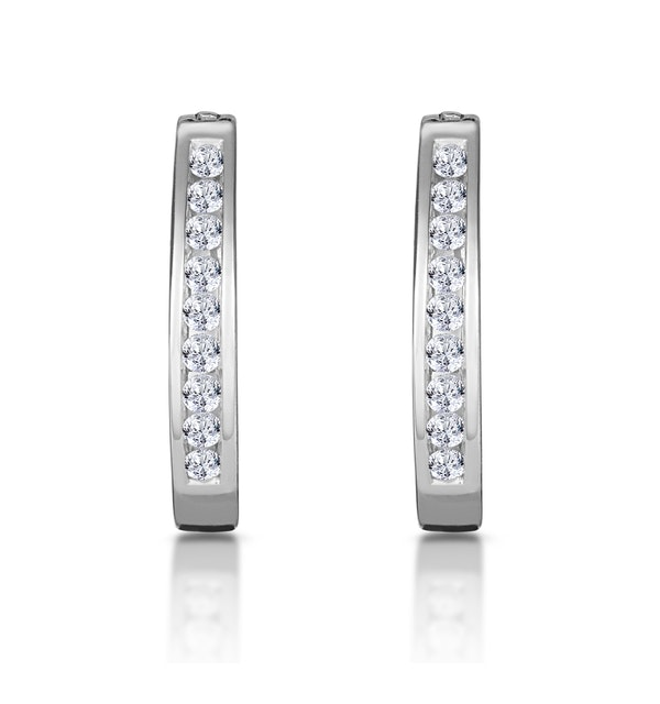 Hoop Earrings 0.25ct Diamond 9K White Gold - image 1