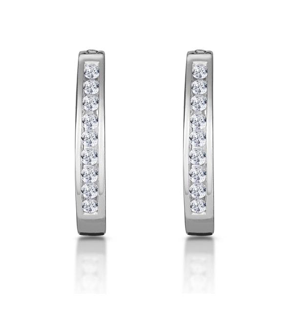 Hoop Earrings 0.25ct Diamond 9K White Gold - image 1