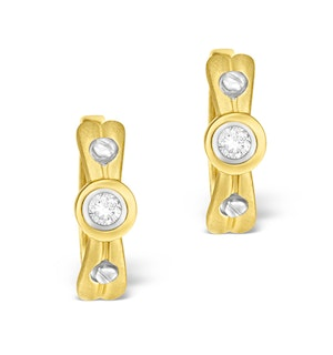 9K Gold Diamond Rubover Earrings