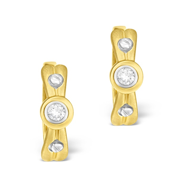 9K Gold Diamond Rubover Earrings - image 1