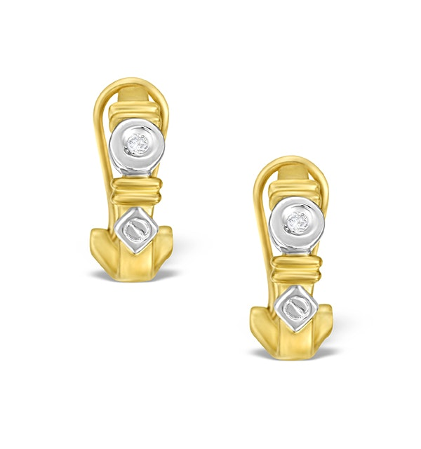9K Two Tone Diamond Huggy Earrings - image 1