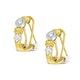 9K Two Tone Diamond Huggy Earrings - image 2