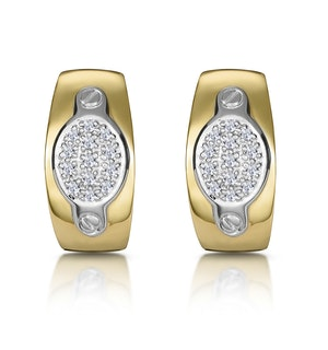 1/4 Carat Diamond Pave Inlay Design Earrings in 9K Gold