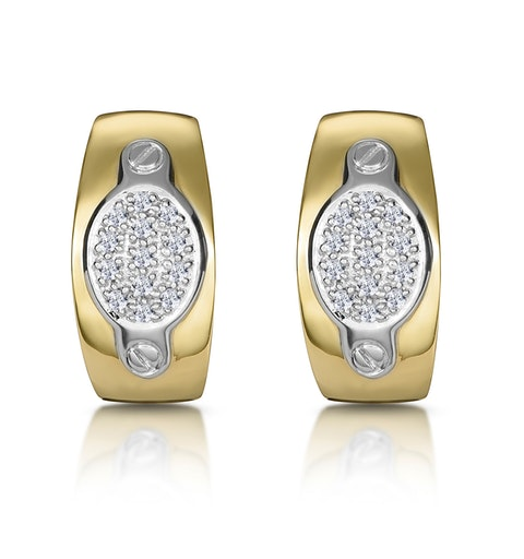 1/4 Carat Diamond Pave Inlay Design Earrings in 9K Gold - image 1