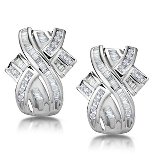 1.15ct Diamond Baguette Earrings in 9K White Gold