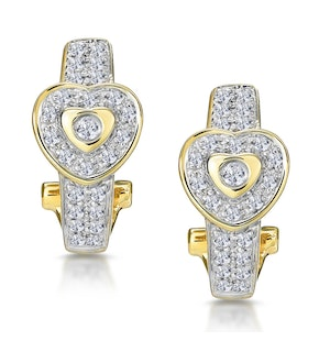 0.37ct Diamond Pave Heart Earrings in 9K Gold