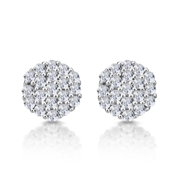 Cluster Earrings 0.25ct Diamond 9K Yellow Gold - image 1