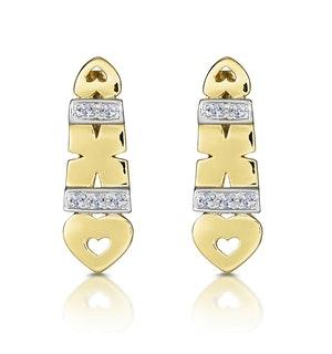 9K Gold Diamond Kisses and Hearts Earrings