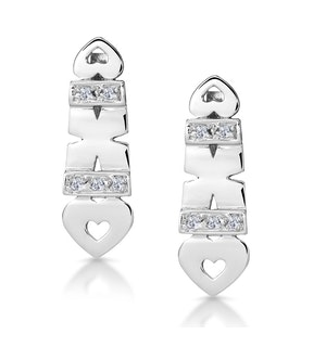 Diamond Pave Hearts and Kisses Earrings in 9K White Gold