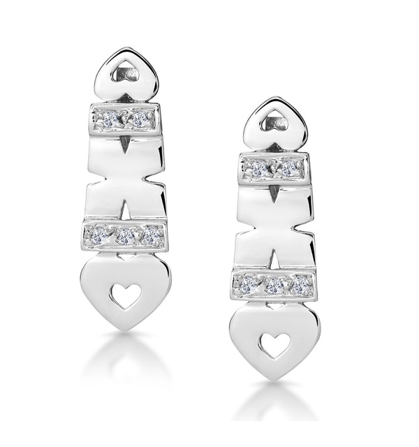 0.37ct Diamond Pave Heart Earrings in 9K White Gold - image 1