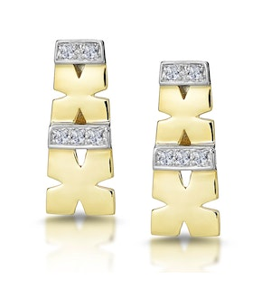 0.10ct Diamond Pave Kisses Earrings in 9K Gold - RTC-H3879