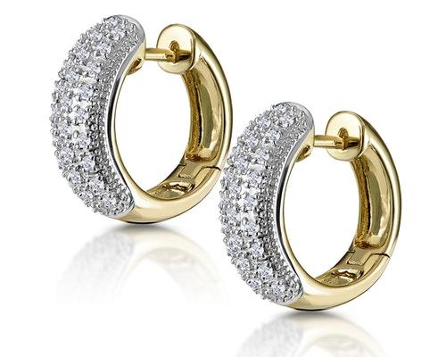 Yellow Gold Diamond Huggy Earrings