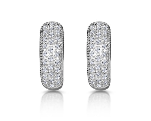 White Gold Diamond Huggy Earrings