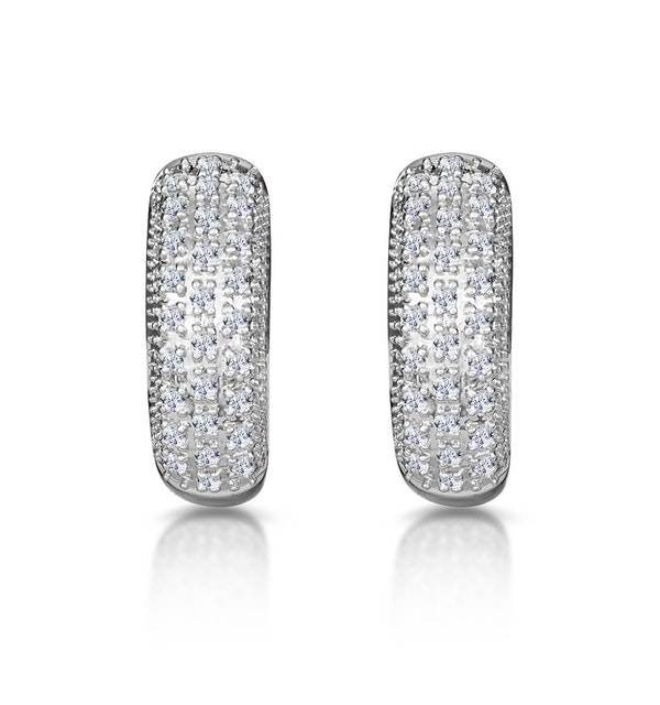 Huggy Earrings 0.33ct Diamond 9K White Gold - image 1