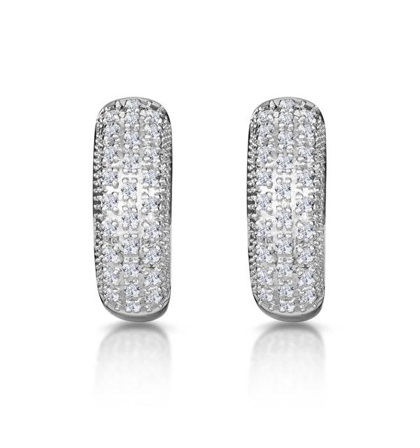 Huggie Earrings 0.33ct Diamond 9K White Gold - image 1