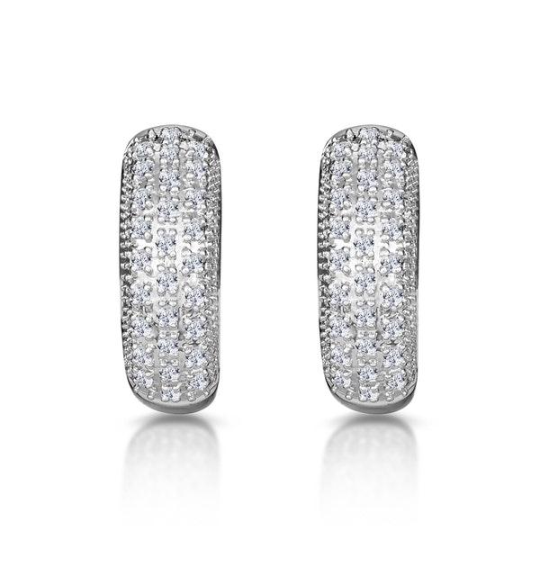 Huggy Earrings 0.33ct Diamond 9K White Gold - image 1