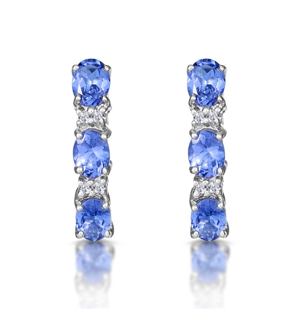 Tanzanite 1.02CT And Diamond 9K White Gold Earrings - image 1