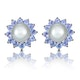 Tanzanite And Pearl 9K White Gold Earrings - image 1