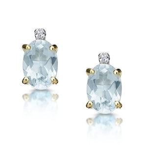 Aquamarine 0.80CT And Diamond 9K Yellow Gold Earrings