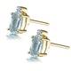 Aquamarine 0.80CT And Diamond 9K Yellow Gold Earrings - image 2